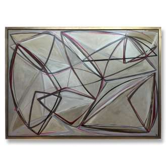 'String Theory in Berry' Oil & Acrylic on Board in Gold/Bronze Finish Shadow Gap Tray Frame (B844)