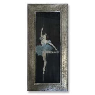 'Cinderella' Oil, Gouache & Acrylic on Board Behind Glass in Silver Gilt Wooden Frame (B848)