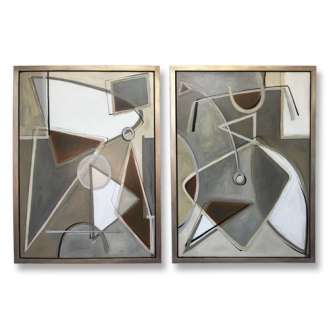 PAIR 'Satellite' L & R Study, Oil & Acrylic on Board in Gold/Silver/Bronze Finish Shadow Gap Tray Frame (B858)