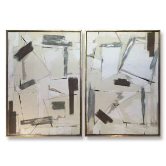 PAIR 'Silver Lining' Oil & Acrylic on Board in Gold/Bronze Finish Shadow Gap Tray Frame (B864)