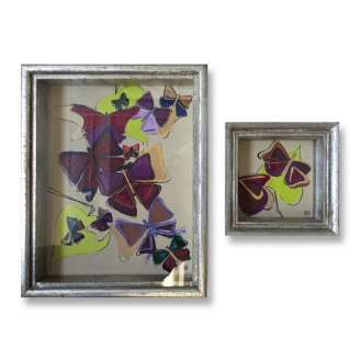 PAIR 'Butterflies pair' Gouache on Board under Glass in Silver Gilt Box Frames (B869)