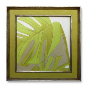 'Green Leaf' Oil & Acrylic on Board in Painted Cavass & Silver Gilt/Bronze Finish Frame (B871)