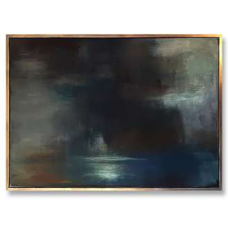 'Sea Sky' Oil & Acrylic on Board in Gold/Bronze Finish Shadow Gap Tray Frame (B883)