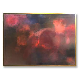 'Mars Sky' Oil & Acrylic on Board in Gold/Bronze Finish Shadow Gap Tray Frame (B884)