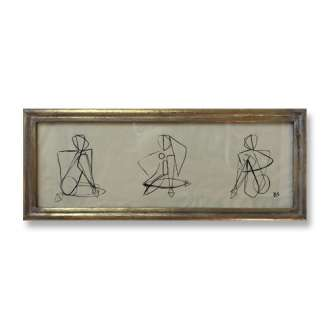 'Three Poses' Gouache on Paper in Small Gold Gilt Frame (B887)