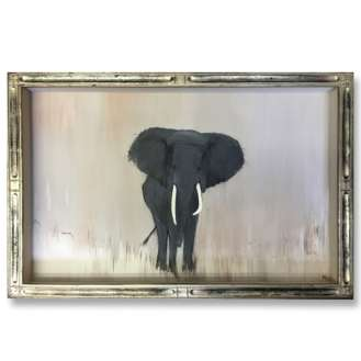 'My Safari Elephant' Gouache & Acrylic on Board in Silver Deco Style Presentation Box Frame (B907)