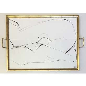'Harlow' Gouache on Paper in Gold Gilt Antique Tray (B917)