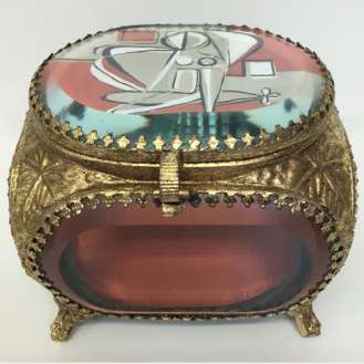 Treasure Box 'Titian Muse' Gouache on Paper under Cut Glass in Gold Gilt Metal Box (B922)