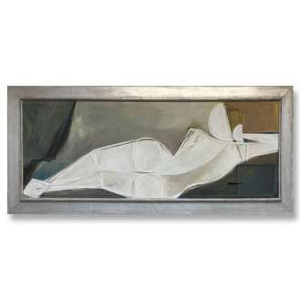 'Nicole Reclining' Oil & Acrylic on Board in Silver Gilt 1960s Frame (B927)