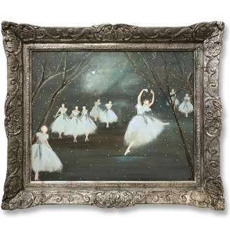 'Moonlight Sonata Ballet' Gouache & Acrylic on Board in Ornate silver Gilt Frame (B928)