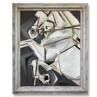 'Before the Race' Gouache & Acrylic on Board in Silver Leaf & Gesso Wooden Bespoke Frame (B930)