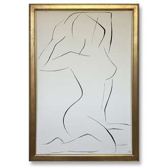 Large Linear Nude Pose No.27 Gouache on Handmade Paper in Gold Gilt Frame (B933)