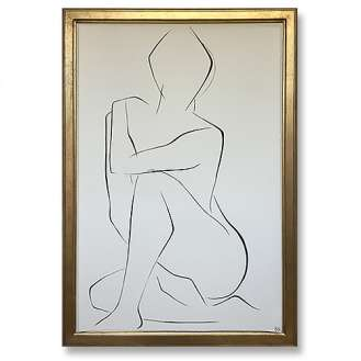 Large Linear Nude Pose No.28 Gouache on Handmade Paper in Gold Gilt Frame (B934)