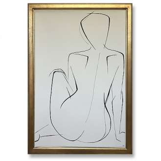 Large Linear Nude Pose No.29 Gouache on Handmade Paper in Gold Gilt Frame (B935)