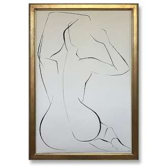 Large Linear Nude Pose No.30 Gouache on Handmade Paper in Gold Gilt Frame (B936)