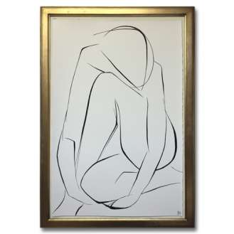 Large Linear Nude Pose No.31 Gouache on Handmade Paper in Gold Gilt Frame (B937)