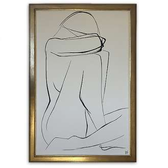 Large Linear Nude Pose No.32 Gouache on Handmade Paper in Gold Gilt Frame (B938)