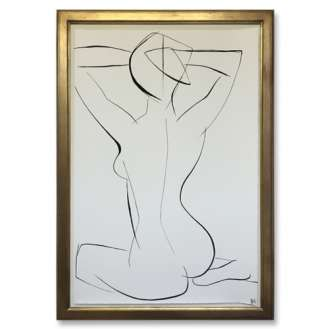 Large Linear Nude Pose No.33 Gouache on Handmade Paper in Gold Gilt Frame (B939)