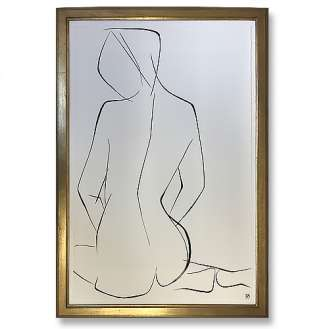 Large Linear Nude Pose No.34 Gouache on Handmade Paper in Gold Gilt Frame (B940)