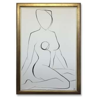 Large Linear Nude Pose No.35 Gouache on Handmade Paper in Gold Gilt Frame 70cm x 100cm (B941)