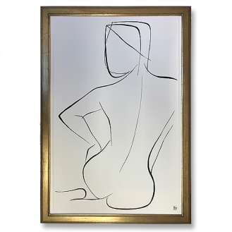 Large Linear Nude Pose No.36 Gouache on Handmade Paper in Gold Gilt Frame (B942)