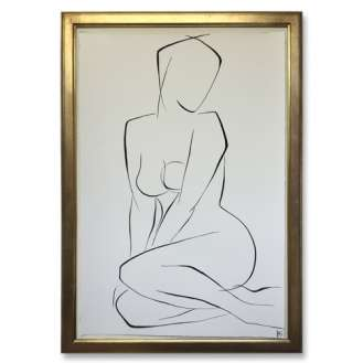 Large Linear Nude Pose No.37 Gouache on Handmade Paper in Gold Gilt Frame (B943)