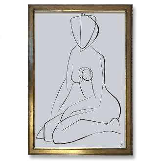 Large Linear Nude Pose No.38 Gouache on Handmade Paper in Gold Gilt Frame (B944)
