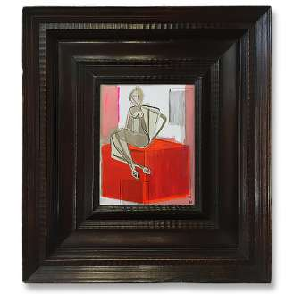 'Girl on Perspex Box' Gouache & Acrylic on Board in Antique Basque Carved Oak Frame (B945)