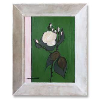 'The Beverley Hills Rose' Gouache & Acrylic on Board in Vintage1960s Gesso Pink Wooden Frame (B952)