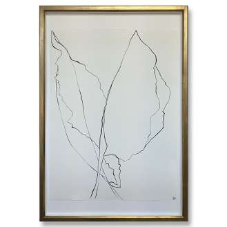 Large Linear Banana Leaf Gouache on Handmade Paper in Gold Gilt Frame 70cm x 100cm EACH (B958)