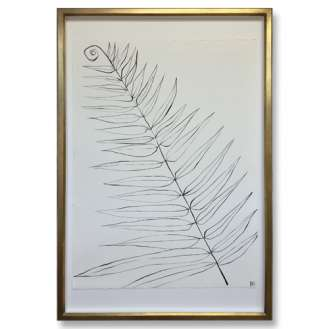 Large Linear Boston Fern Gouache on Handmade Paper in Gold Gilt Frame 70cm x 100cm EACH (B959)