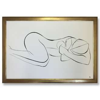 Large Linear Nude Pose No.39 Gouache on Handmade Paper in Gold Gilt Frame (B962)