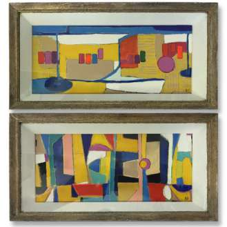 PAIR 'The Beach' & 'Beach Towels' Gouache on Board in1960s Gesso & Gilt Finish Presentation Box Frames (B965)