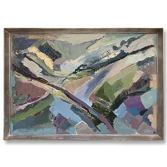 'Mountain View' Oil & Acrylic on Board in Silver Gilt Frame (B976)
