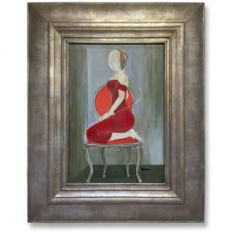 'Party Dress' Oil & Acrylic on Board in Cream and Silver Gilt Finish Cushion Frame (B980)