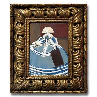 'Girl in the Blue Dress' Oil & Acrylic on Board in Ornate Antique Carved Wooden Gilt Frame (B984)