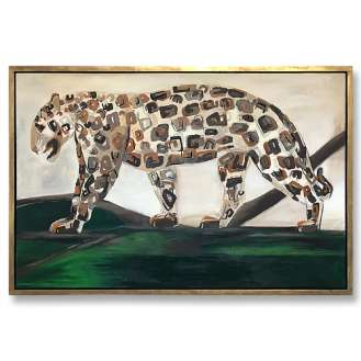'My Retro Leopard' Oil & Acrylic on Board in Silver Leaf and Bronze Finish Shadow Gap Frame (B987)