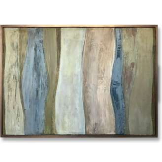 'Green Bark' Oil & Acrylic on Board in Gold Leaf and Bronze Finish Shadow Gap Tray Frame (B993)