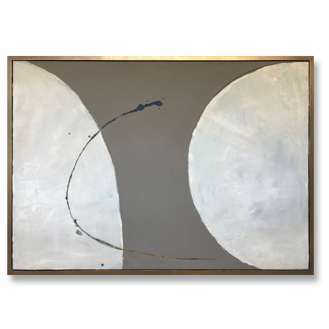 '2 Moons' Oil Acrylic & Gesso on Board in Bronze/Gold Finish Shadow Gap Tray Frame (B996)