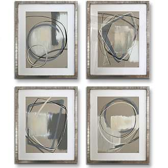 SET OF 4 'Alto' Gouache & Acrylic on Board behind Glass in Silver Leaf with Bronze Finish Frames (B999)